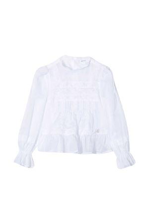 Blusa bianca Ermanno Scervino junior con maniche lunghe drappeggiate ERMANNO SCERVINO JUNIOR | 5032334 | ESFCA011CA17WSUNI1B021