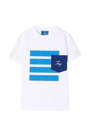 T-shirt teen bianca con stampa righe azzurre Fay kids FAY KIDS | 8 | 5O8011OX130100T