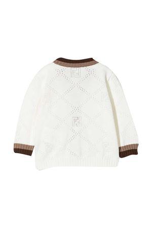 Cardigan bianco con dettagli marroni Fendi kids FENDI KIDS | 39 | BMG087AEXFF1D8Y