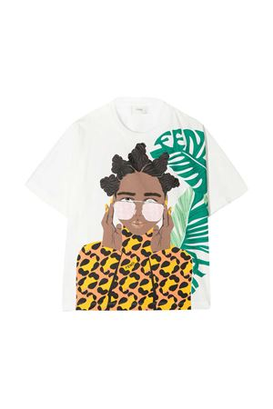 White t-shirt teen Fendi Kids  FENDI KIDS   8   JFI2157AJF0TU9T