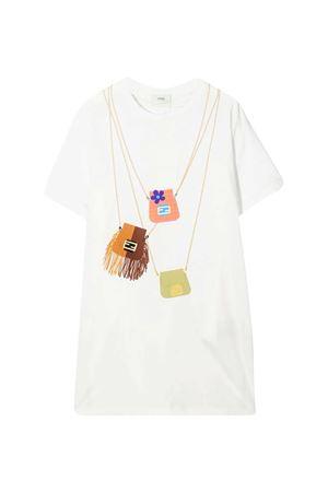 Maxi teen t-shirt bianca con stampa Bags Fendi kids FENDI KIDS | 5032307 | JFI2267AJF0TU9T