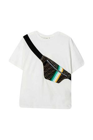T-shirt bianca con stampa Fendi kids FENDI KIDS | 8 | JMI3337AJF0TU9