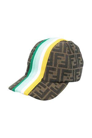 Fendi kids hat with logoed texture and multicolor bands FENDI KIDS | 75988881 | JUP004AF11F1CWP