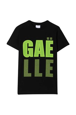 Teen t-shirt with Gaelle rhinestone logo Gaelle | 8 | 2746M0321BLACK/YELLOWFLUOT