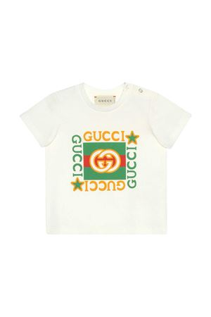 T-shirt bianca con stampa frontale Gucci kids GUCCI KIDS | 8 | 548034XJCPU9061