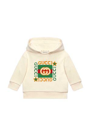 Felpa bianca con cappuccio e stampa frontale Gucci kids GUCCI KIDS | -108764232 | 548305XJCP49061