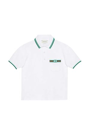White polo shirt with green details Gucci Kids GUCCI KIDS | 2 | 638453XJC369023