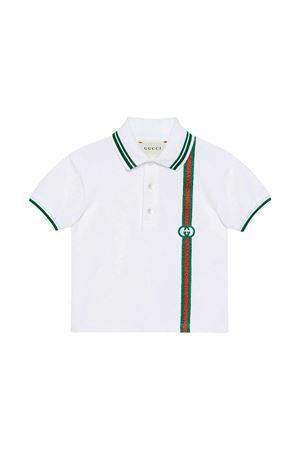 Polo bianca con dettagli verdi e rossi Gucci kids GUCCI KIDS | 2 | 638455XJC369023