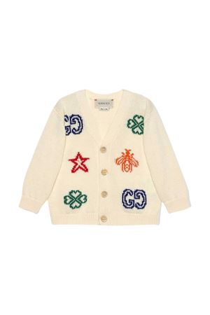 White cardigan with multicolor print Young Versace GUCCI KIDS | 39 | 639457XKBMX9061