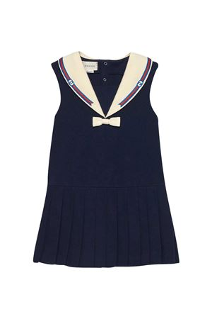Blue dress with bow and multicolor details Gucci kids GUCCI KIDS   11   646997XJC854306