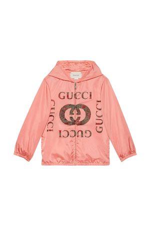 Pink lightweight jacket with hood and print Gucci kids GUCCI KIDS | 13 | 647462XWANC5312