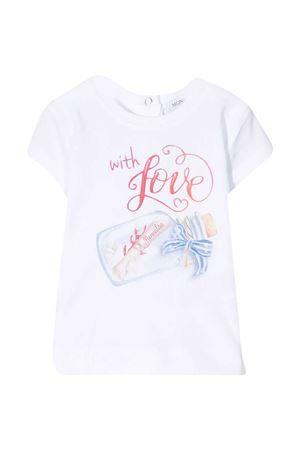 White t-shirt with multicolor print Monnalisa kids Monnalisa kids | 8 | 397612SY70100099