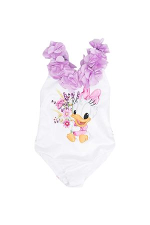 White and wisteria swimsuit with Monnalisa kids
