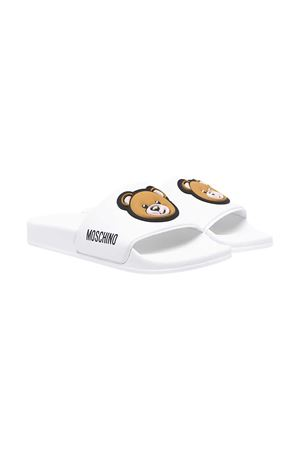 Moschino Kids white teen slippers  MOSCHINO KIDS | 11041766 | 675292T