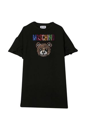 Black dress with multicolor applications Moschino kids MOSCHINO KIDS   11   HDV0A1LDA2560100