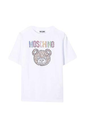 T-shirt teen bianca con applicazioni multicolor Moschino kids MOSCHINO KIDS | 5032307 | HFM02TLBA1010101T