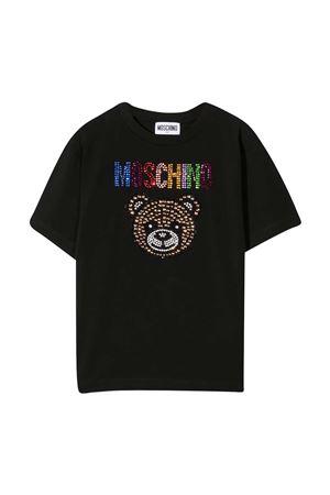 T-shirt nera con applicazioni multicolor Moschino kids MOSCHINO KIDS | 5032307 | HFM02TLBA1060100