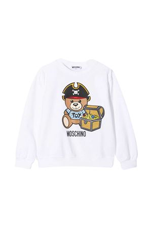 White teen sweatshirt with toy print Moschino kids MOSCHINO KIDS | -108764232 | HNF043LDA1210101T