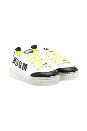 Sneakers teen bianche e nere con dettagli gialli e logo nero Msgm kids MSGM KIDS | 12 | 672962T