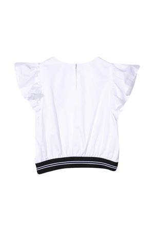 Blusa teen bianca con banda logata nera Msgm kids MSGM KIDS | 194462352 | MS026885001T