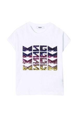 T-shirt teen bianca con paillettes Msgm kids MSGM KIDS | 8 | MS026894001T