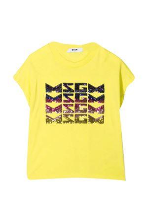 T-shirt gialla con paillettes Msgm kids MSGM KIDS | 8 | MS026894086
