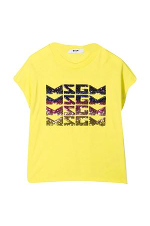 T-shirt teen gialla con paillettes Msgm kids MSGM KIDS | 8 | MS026894086T