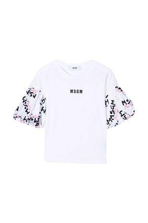 T-shirt bianca con maniche a balze e logo Msgm kids MSGM KIDS | 8 | MS026938001