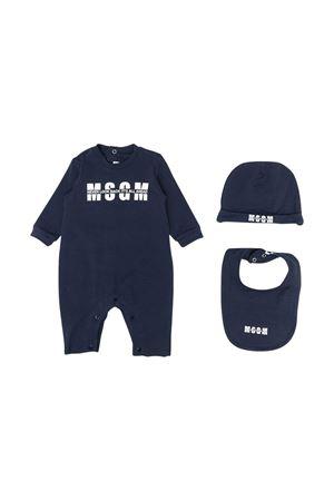 Tutina blu con logo , cappellino e bavetta Msgm kids MSGM KIDS | 1491434083 | MS027256060