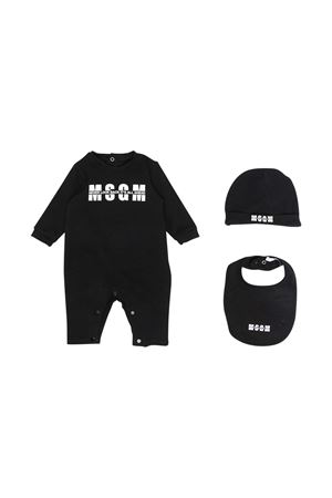 Tutina nera con logo , cappellino e bavetta Msgm kids MSGM KIDS | 1491434083 | MS027256110