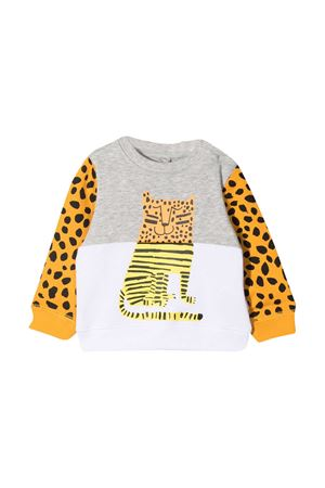 Felpa bianca e grigia con stampa animalier Stella McCartney kids STELLA MCCARTNEY KIDS | -108764232 | 602269SQJ281461