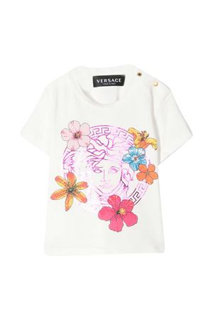 T-shirt bianca con stampa floreale Young Versace YOUNG VERSACE | 8 | 10001521A001212W070