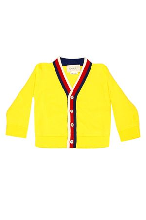 YELLOW CARDIGAN WITH RED , BLUE AND WHITE DETAILS GUCCI KIDS | 39 | 457691X3F447221