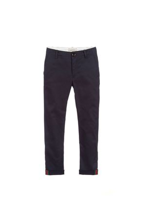 BLUE TROUSERS WITH RED AND GREEN DETAILS GUCCI KIDS | 9 | 499974XBD874817