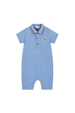 BLUE ROMPERS WITH FRONTAL LOGO Moncler | -1617276553 | 85049058496F704
