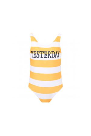 ALBERTA FERRETTI KIDS  WHITE AND YELLOW STRIPES SWIMSUIT WITH BLUE FRONTAL PRESS