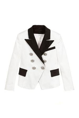BALMAIN KIDS WHITE DOUBLE-BREASTED JACKET BALMAIN KIDS | 3 | 6K2094KC650100NE