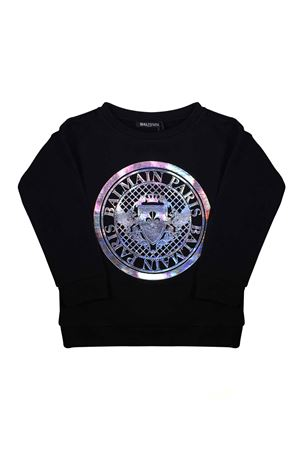 BLACK SWEATER WITH SILVER LOGO  BALMAIN KIDS BALMAIN KIDS | -108764232 | 6K4000KC170930