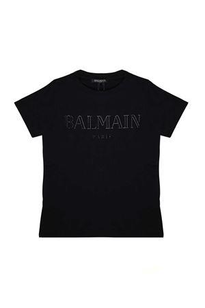BLACK T-SHIRT WITH WHITE BALMAIN KIDS LOGO BALMAIN KIDS | 8 | 6K8511KA050930AG