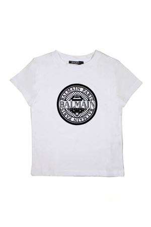WHITE BALMAIN KIDS T-SHIRT WITH FRONT BLACK LOGO BALMAIN KIDS | 8 | 6K8521KX080100NE