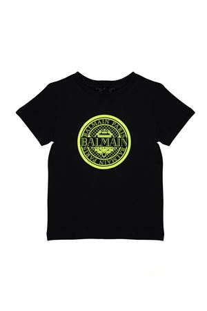 BLACK T-SHIRT WITH YELLOW PRINTED LOGO BALMAIN KIDS BALMAIN KIDS | 8 | 6K8521KX080930GL