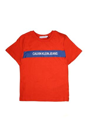 ORANGE T-SHIRT WITH BLUE BAND CALVIN KLEIN KIDS CALVIN KLEIN KIDS | 8 | IB0IB00029601