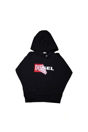 BLACK SWEATSHIRT WITH HOOD DIESEL KIDS TEEN DIESEL KIDS | -108764232 | 00J3ZP00YI8K900T
