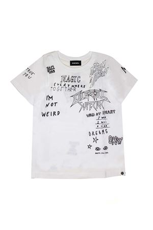 WHITE T-SHIRT WITH BLACK GRAFFITI PRINT BY DIESEL KIDS TEEN DIESEL KIDS | 8 | 00J4APKYAPEK100T