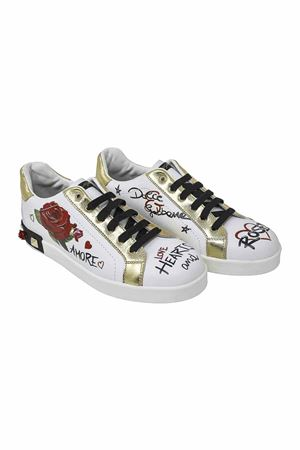 WHITE SNEAKERS WITH GOLD DETAILS DOLCE E GABBANA KIDS Dolce & Gabbana kids | 90000020 | D10806AV526HWF57