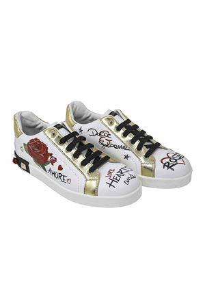 WHITE SNEAKERS WITH GOLD DETAILS DOLCE E GABBANA KIDS TEEN Dolce & Gabbana kids | 90000020 | D10806AV526THWF57
