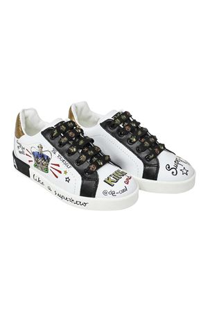 WHITE AND BLACK SNEAKERS DOLCE E GABBANA KIDS TEEN Dolce & Gabbana kids | 90000020 | DA0678AU120THWF57