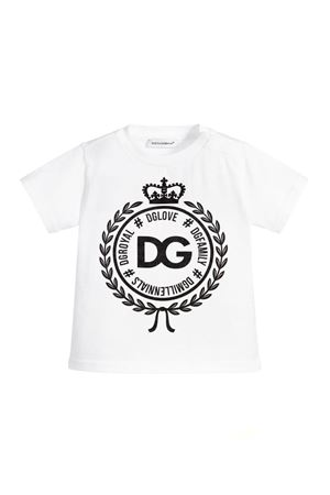 WHITE T-SHIRT WITH DOLCE & GABBANA KIDS BLACK LOGO Dolce & Gabbana kids | 8 | L1JT7WG7RIFW0800