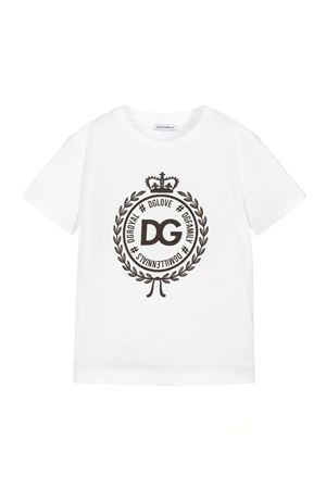 WHITE T-SHIRT DOLCE E GABBANA KIDS WITH BLACK LOGO Dolce & Gabbana kids | 8 | L4JT7NG7RIFW0800