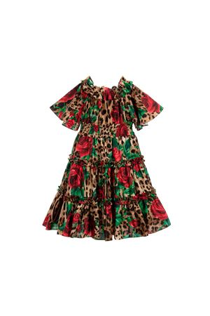 LEOPARDED DRESS WITH RED ROSES DOLCE E GABBANA KIDS GIRL  Dolce & Gabbana kids | 11 | L51DG4HS5CMHKIRS